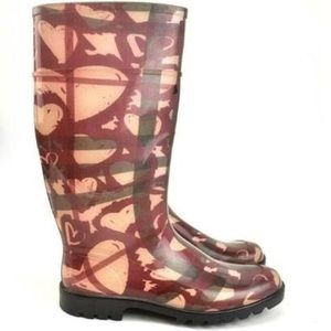 Burberry Heart Check Waterproof tall rain boots